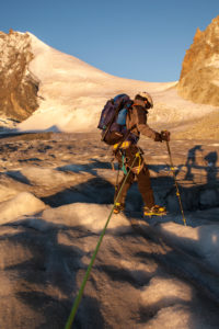 1 person, mountaineer in front of crevasse, climbing iron, ice, glacier, climb, approach, the sun, summit, loneliness, glacier, lonely, sunrise,