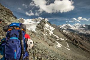 way up to the hut, trekking, Switzerland, Tracuit, Zinal, series Tracuit, 1 person, sport, destination, summit, mountain range, snow, hut,
