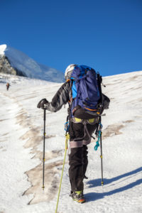 1 person, mountaineer with climbing iron, ice, glacier, climb, approach, the sun, summit, loneliness, silence, glacier, lonely, silence, balanced, destination, success