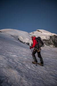 Mountaineer while climbing the summit, Allalinhorn, mountain landscape, Switzerland, Saas Fee, series Britanniahütte, mountain range, ice, snow, cold, 1 person, trekking, adventure