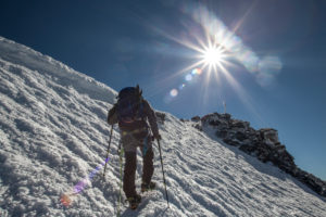 1 person, approach to the summit, climb, Strahlhorn, trekking, climb, approach, the sun, rays, Flare, summits, loneliness, silence, glacier, lonely, silence, balanced, destination, success