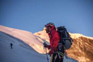1 person, trekking, way up to the summit, approach, view forward, scenery, summit, glacier, silence, adventure, silence, balanced, destination, adapter,