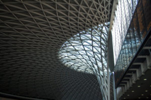Steel-glass construction of the domed roof, British museum, London, England, Great Britain