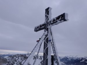 Germany, Bavaria, Berchtesgadener Land, Untersberg, summit cross, winter, view towards Salzburger Land