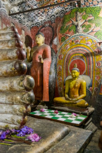 Statues and murals in the cave temple in Dambulla, Sri Lanka