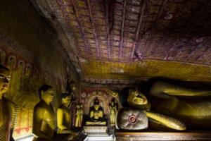 Statues and murals in the cave temple in Dambulla, Sri Lanka