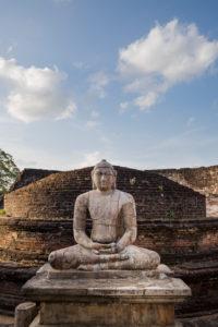 Buddha statues in dilapidated ruin of the old capital of Sri Lanka, Polonnaruwa