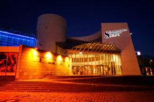 Germany, North Rhine-Westphalia, Cologne, Rheinauhafen, chocolate museum, in the evening