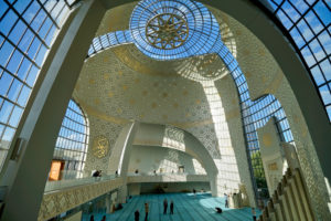 Germany, North Rhine-Westphalia, Cologne, new DITIB Central Mosque in Cologne-Ehrenfeld, inside, dome roof