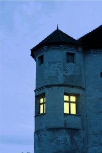 Germany, Bavaria, Upper Bavaria, Burghausen, castle, tower bay, dusk, in the window burns light