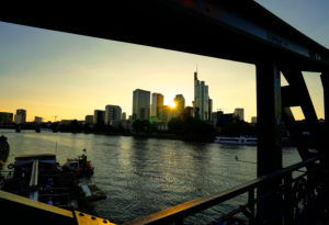 Germany, Hesse, Frankfurt on the Main, view from the Eiserner Steg to the financial district, in the evening