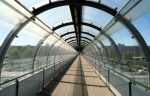 Germany, Bavaria, Munich, Munich Airport, pedestrian bridge, glaszed, S-Bahn stop Airport Visitors' Park