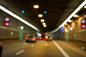 Germany, Bavaria, Munich, Richard Strauss road tunnel, traffic, cars, out of focus, blurred