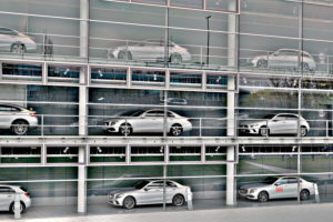 Germany, Bavaria, Munich, Mercedes-Benz branch, exterior, displayed cars in three floors, (M)