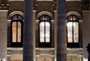 Germany, Bavaria, Munich, Max-Joseph-Platz, Bavarian National Theater, Bavarian State Opera, three windows, exterior, detail, evenings