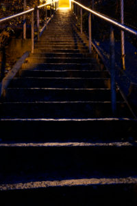 Germany, Bavaria, Upper Bavaria, Altötting district, stone staircase, evening, illuminated