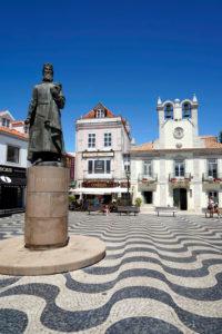 Europe, Portugal, Lisbon region, Cascais, Praca 5 de Outubro, Town Hall, Dom Pedro I statue, Peter I, Town Hall forecourt, Wavy pavement