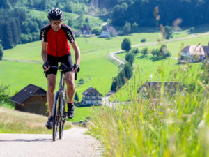 Road cyclist on a narrow mountain road in the Middle Black Forest, Biederbach municipality, Baden-Württemberg