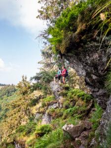 Wandern auf dem Zweitälersteig, schmaler Pfad am Kandel