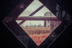 Construction site window with New York Skyline in Williamsburg, City Planning, Brooklyn, USA