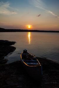 Sonnenuntergang, See Lelang, Boot, Dalsland, Götaland, Schweden