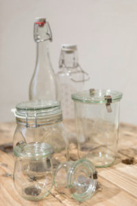Reusable glass bottles and glass containers from the unpackaged 'Stückgut' shop, Altona, Hamburg, Germany