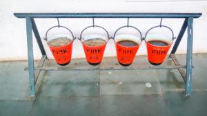 Fire extinguisher bucket, Varkala, Kerala, India, Kerala