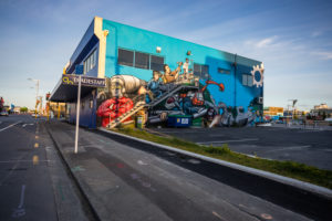 Streetview with Graffiti Streetart, morning mood at Christchurch Central City