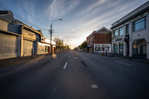 Streetview, sunrise, morning mood at Christchurch Central City