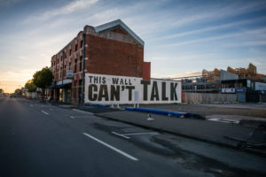 This Wall can't talk, Streetview, morning mood at Christchurch Central City