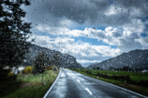Raindrops on disc, Highway 7, South Island New Zealand