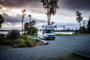 Caravan, Iveagh Bay Campground, Lake Brunner, South Island New Zealand