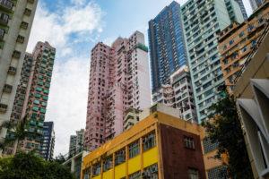 Bunte Häuserschlucht, Hollywood Rd, Sheung Wan, Hongkong