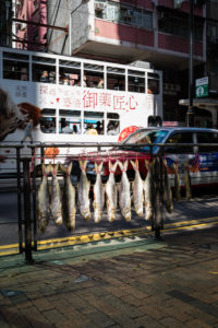 Fish drying on the Hong Kong roadside