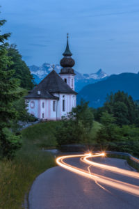Europe, Germany, Bavaria, Berchtesgadener Land, Berchtesgaden, Wallfahrtskirche Maria Gern, street, light tracks, dusk