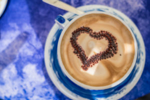 Coffee with heart decoration, Italy, Liguria, Cinque Terre, Corniglia