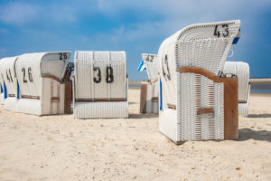 Europe, Germany, the North Sea, Lower Saxony, the East Frisians, Spiekeroog, beach chairs on the beach of Spiekeroog
