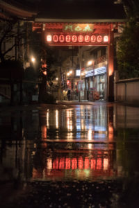 Asia, Japan, Nihon, Nippon, Tokyo, Taito, Asakusa, lanterns are reflecting in a puddle of rain