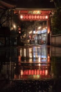 Asien, Japan, Nihon, Nippon, Tokyo, Taito, Asakusa, Lampions spiegeln sich in Regenpfütze