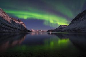 Europa, Norwegen, Troms, Tanzendes Nordlicht über Grøtfjord