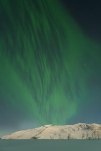 Europe, Norway, Troms, dancing Northern Lights over Kattfjordvatnet