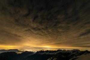 Europa, Schweiz, Zentralschweiz, Kanton Obwalden, Engelberg, Nachts auf dem Titlis