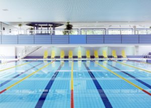 swimming pool, tracks, water-surface, quietly, basin-edge, deck chairs, deserted, indoor swimming pool, basins, pools, symbol, sport, water-sport, swimming, leisure time, hobby, activity, swimming-sport, interior,