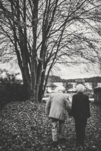 Senior couple in love at autumn walk