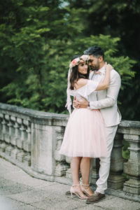 Young bridal couple, happy, in love, outside, embrace