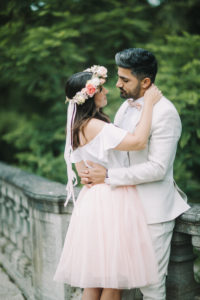 Young bridal couple, happy, in love, outside, embrace, eye contact
