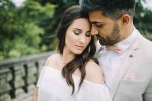 Young bridal couple, happy, in love, outside, portrait