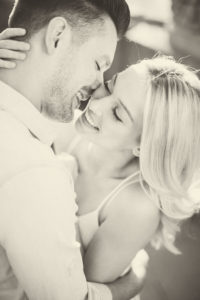 Young couple, happy, in love, tenderness, embrace, portrait, b / w