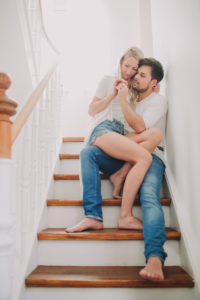 Young couple in love on stairs