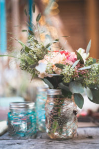 Bouquet and table decoration at alternative wedding, decoration